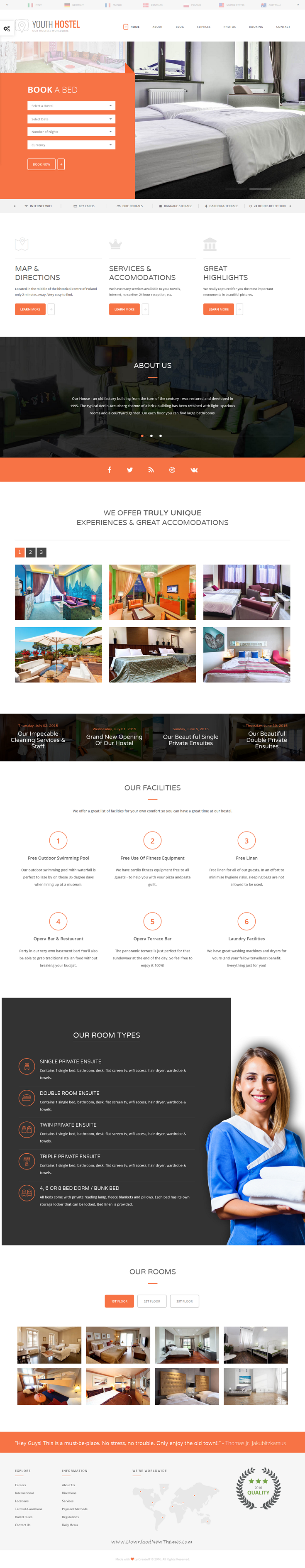 Youth hostel travel hotel html template web layout ui ux youth hostel travel hotel html template pronofoot35fo Gallery