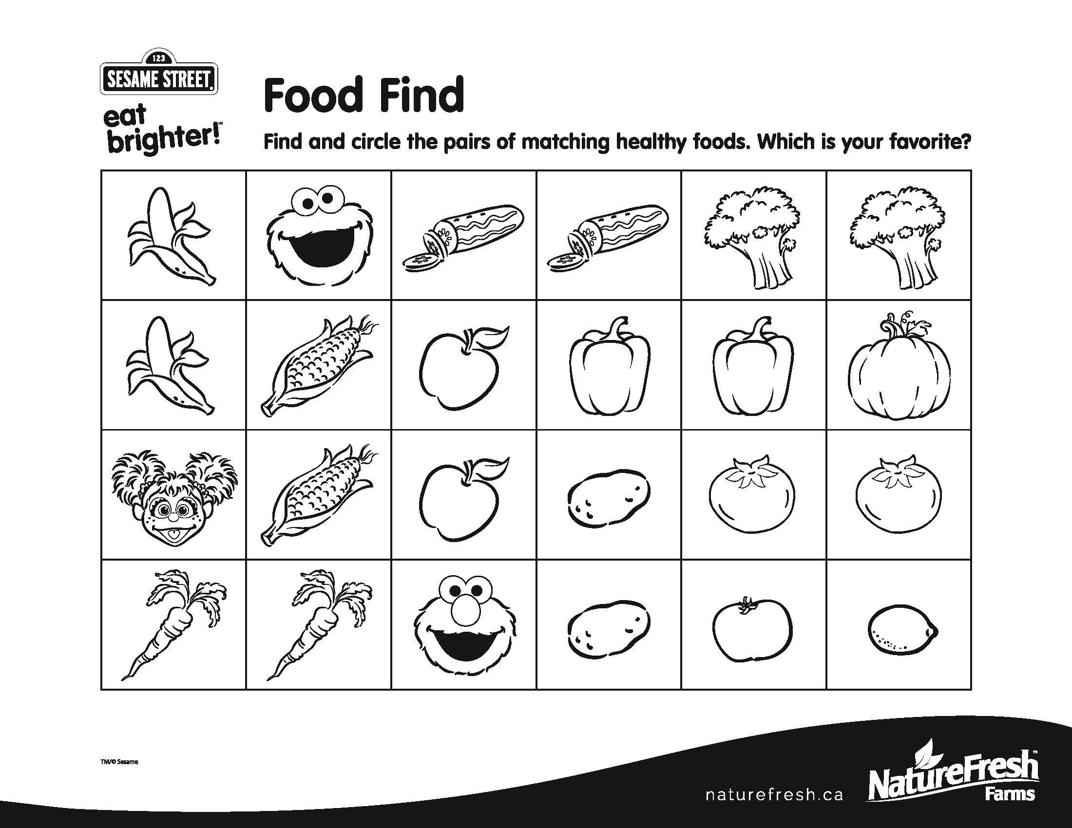 Find And Circle The Pairs Of Matching Healthy Foods Which Is Your