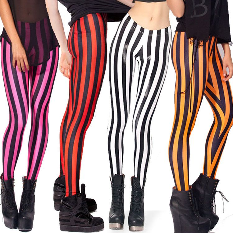 Black And Red Striped Leggings - Trendy Clothes
