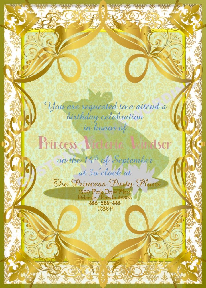 PRINCESS and the FROG Tiana Inspired Invitations Fairytale Birthday ...