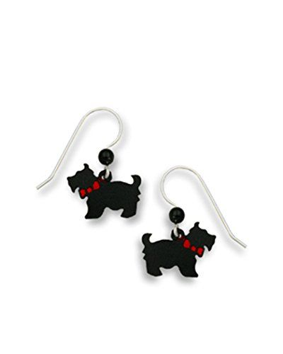 Scottie Dog Black With Red Bow Earrings Made In Usa By