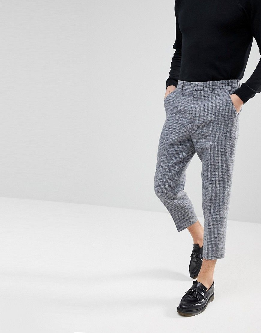 0bbd1a933ebc5a Tapered Smart Pants in 100% Wool Harris Tweed In Light Gray Check in ...