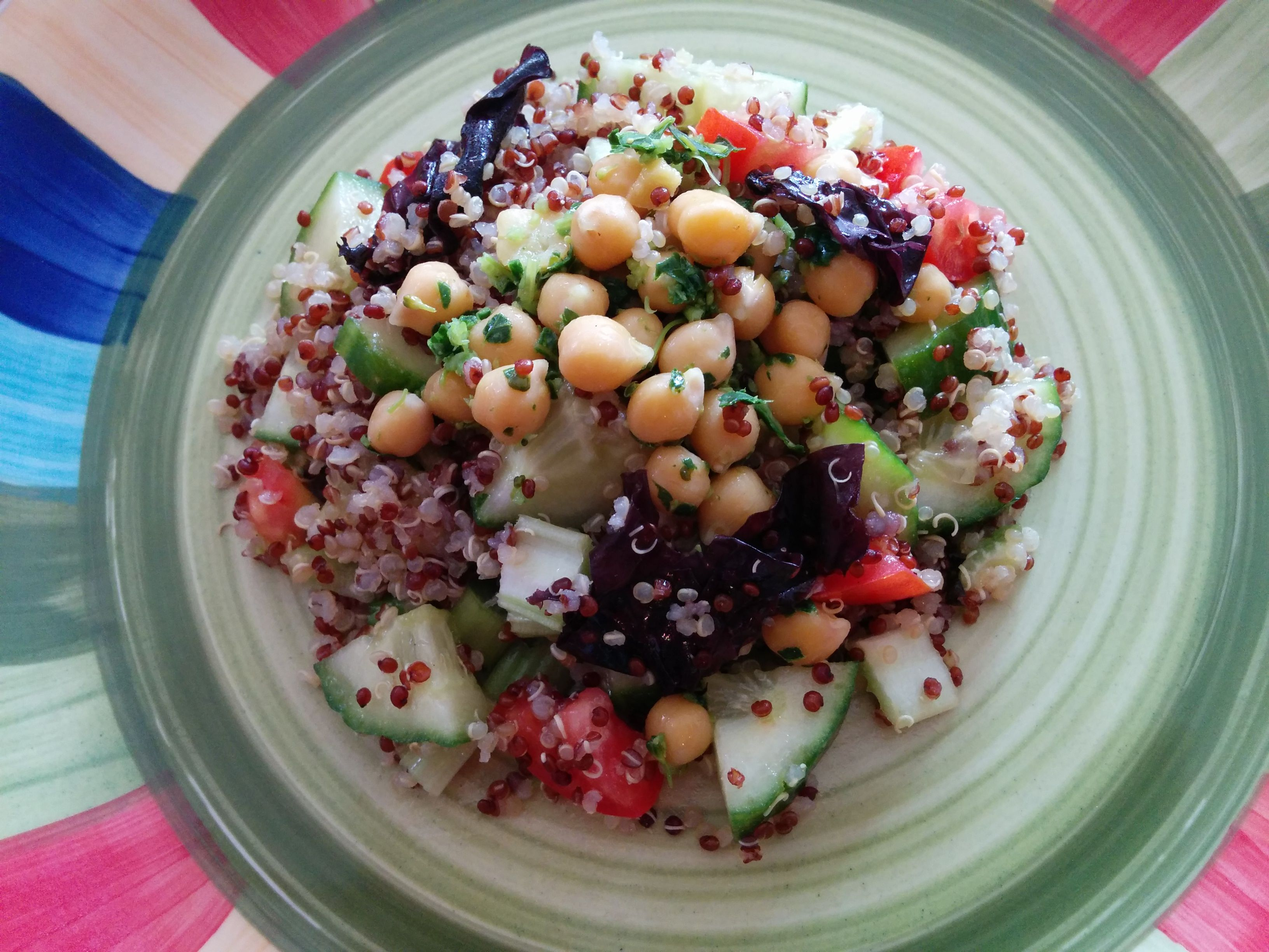 Quinoa chick pea salad with seaweed