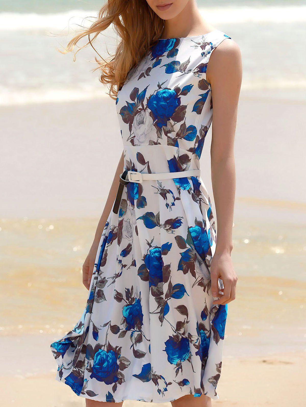 Printed Sleeveless Floral Belted Dress | Blue floral dresses ...