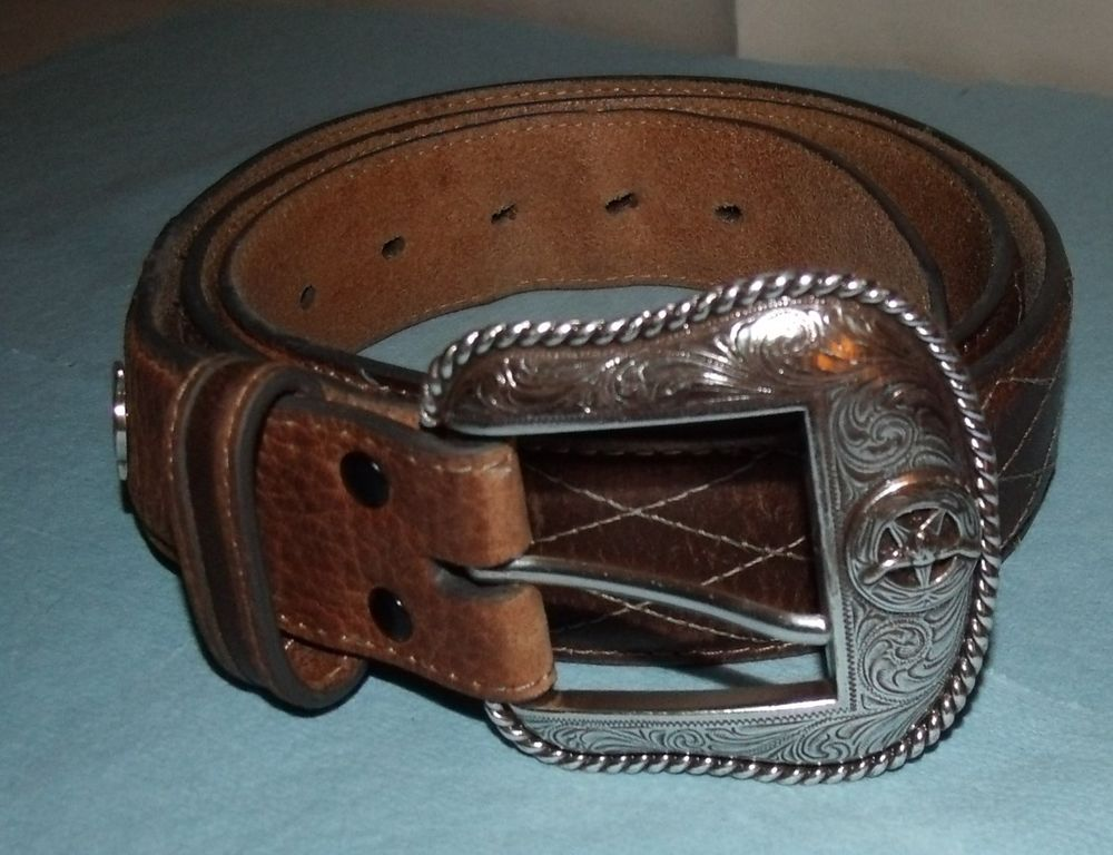 Larry Mahan Brown Leather Western Belt; ; Sz 42; Diamond