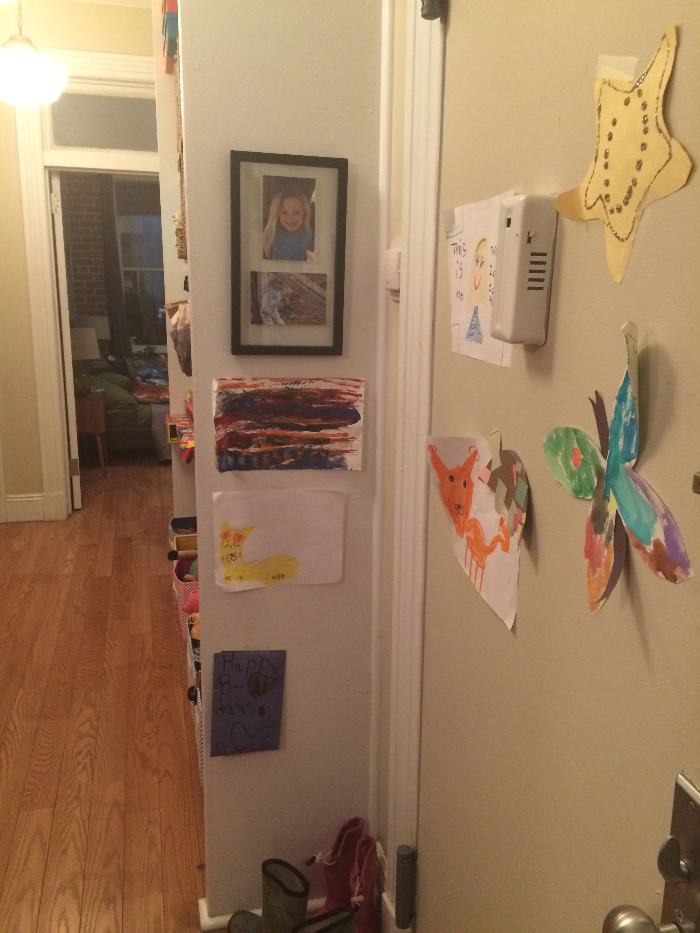 Parents can use extra wall space to display their kids art projects