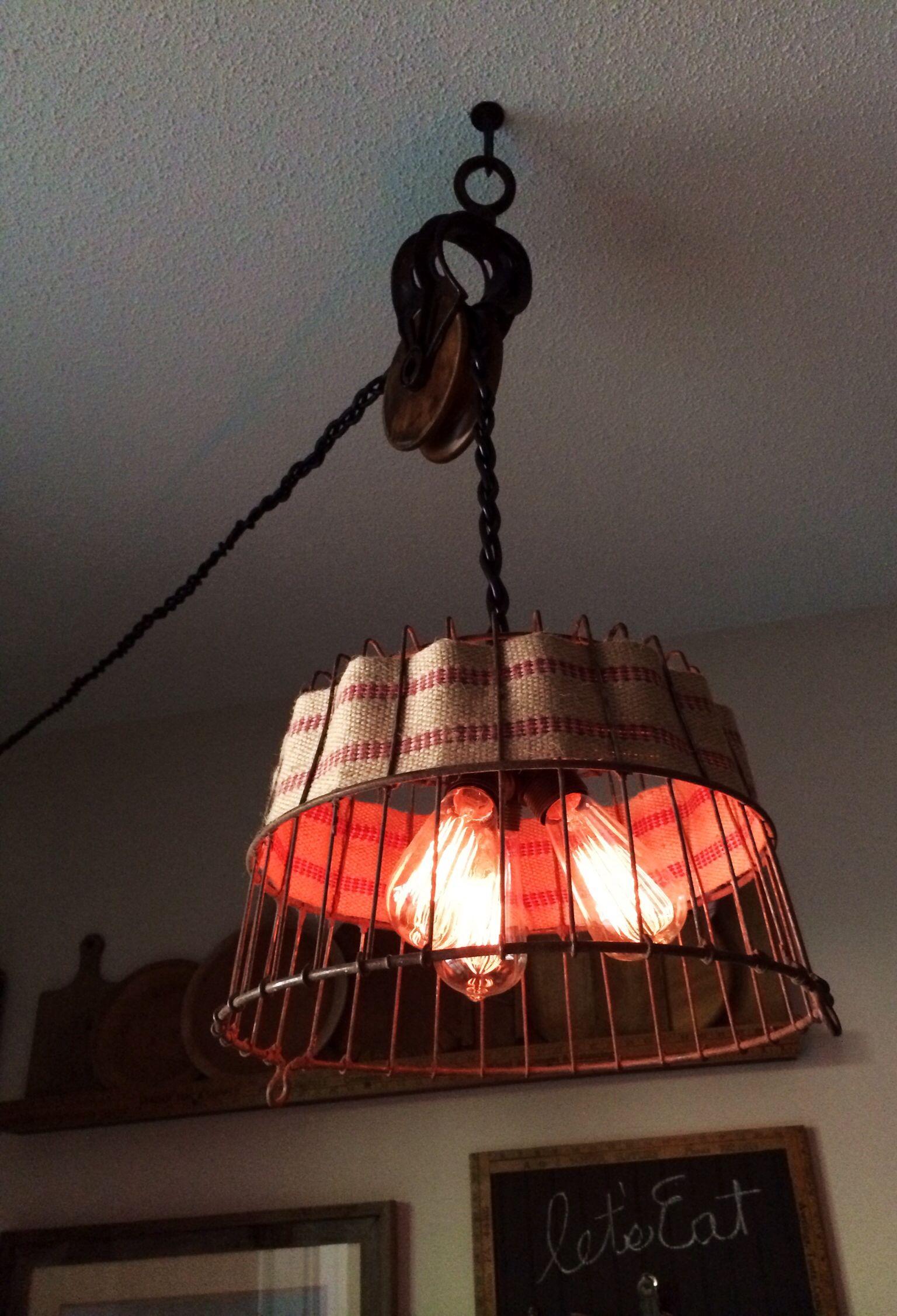 Light made with three Ikea lamp kits & egg basket. Ikea