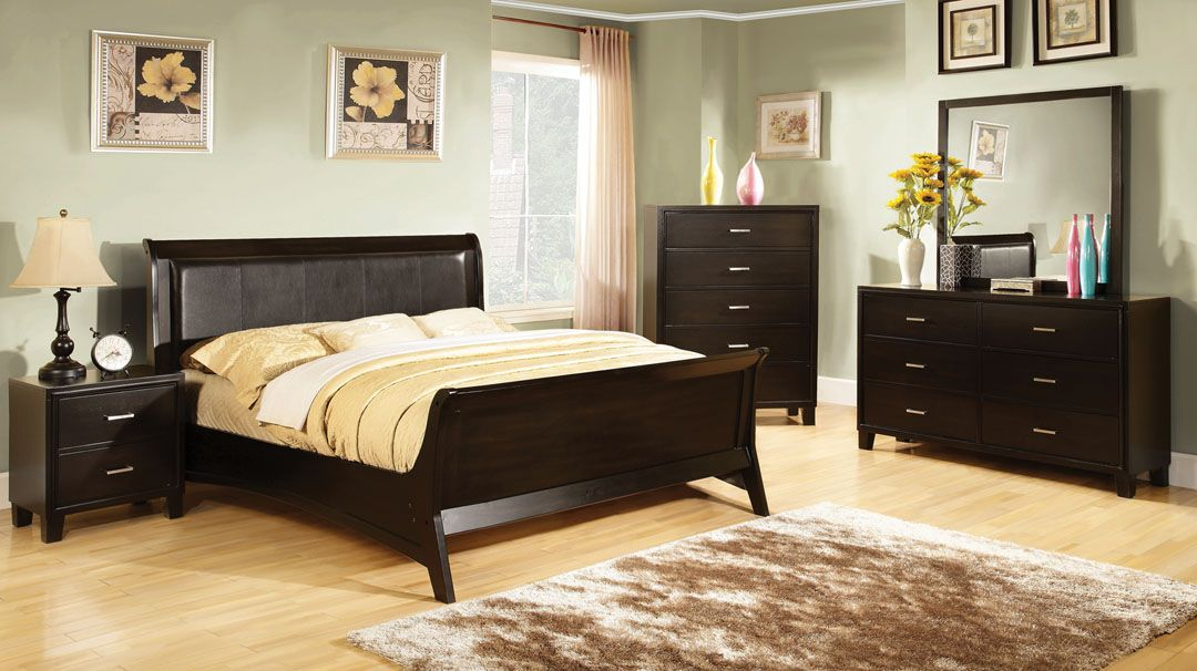 A M B Furniture Design Bedroom Sets Wood Bed Headboard Footboard 5 Pc Carlsbad Ii Contemporary Style