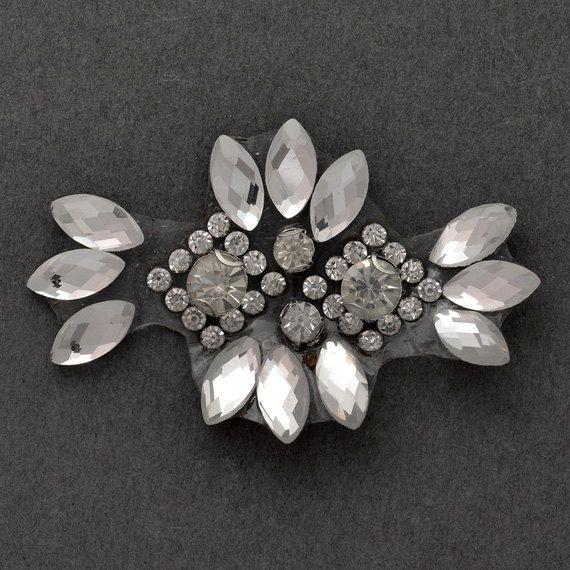 Rhinestone Beaded iron-on Applique Bridal by JoyceTrimming on Etsy