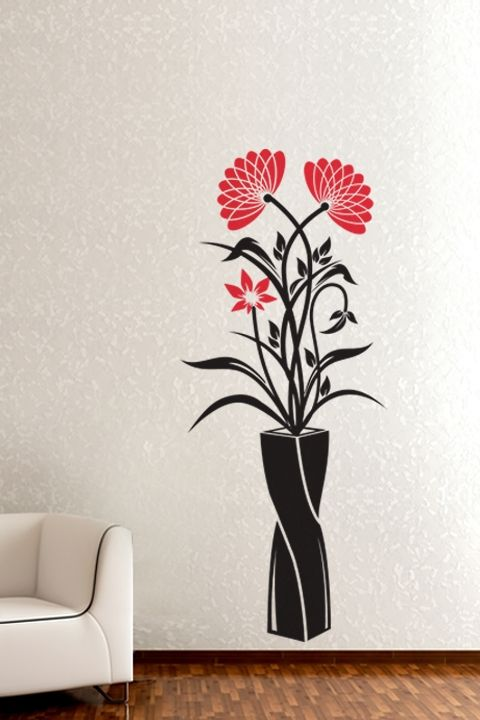 Wall Decals Vase Of Wildflowers Walltat Com Art Without