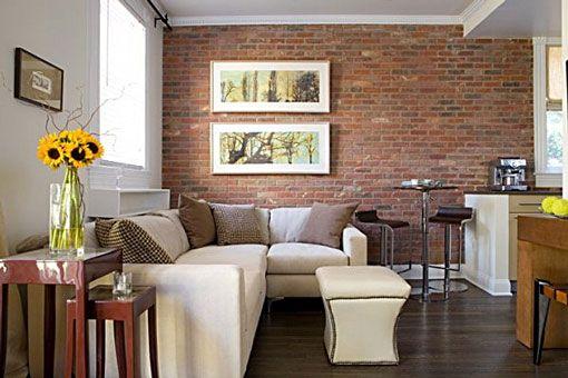 Muros interiores con ladrillos a la vista