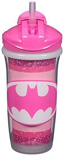 Playtex Sipsters Stage 3 DC Super Friends Straw Sippy Cups for Girl 9 Ounce 2pk