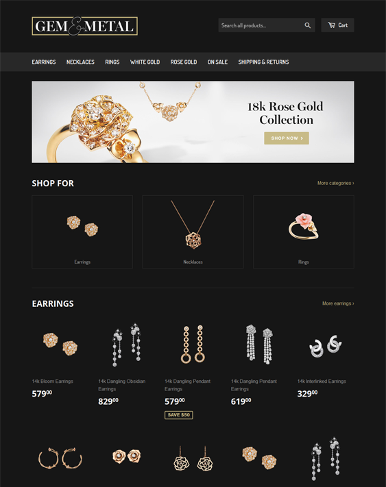 This free minimal Shopify theme offers a dark design