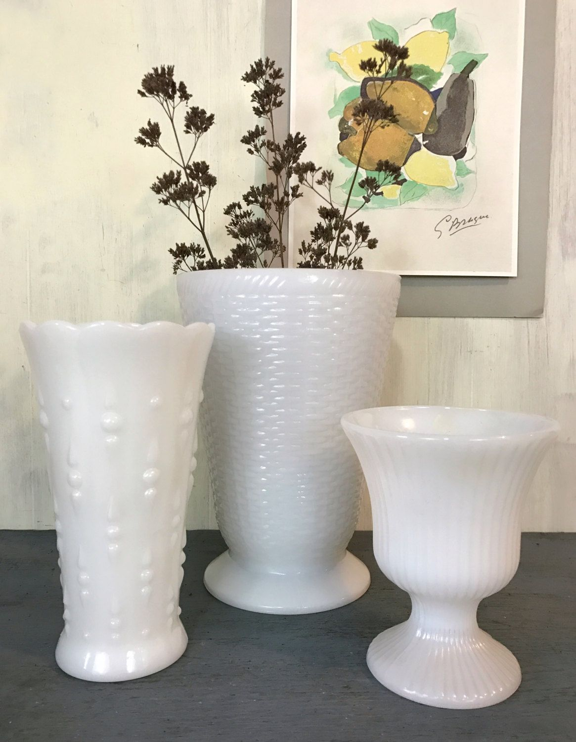 Vintage milk glass vases large white vase hobnail basketweave vintage milk glass vases large white vase hobnail basketweave glass vase cottage style reviewsmspy
