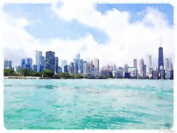 Chicago Skyline Watercolor Free Printable Chicago Landscape Chicago Skyline Wall Art Chicago Painting