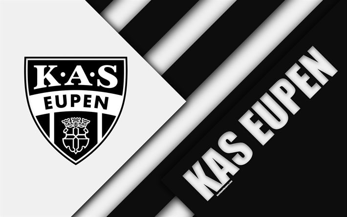 Download imagens KAS, 4k, Belga de futebol do clube, preto-e-branco de abstração, logo, design de material, Eipen, Bélgica, futebol, Jupiler Pro League