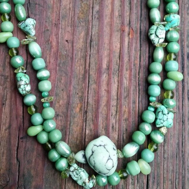New Green Stone Double Necklace. $35 + tax. Www.Etsy.com/shop/westerncowgirldesign