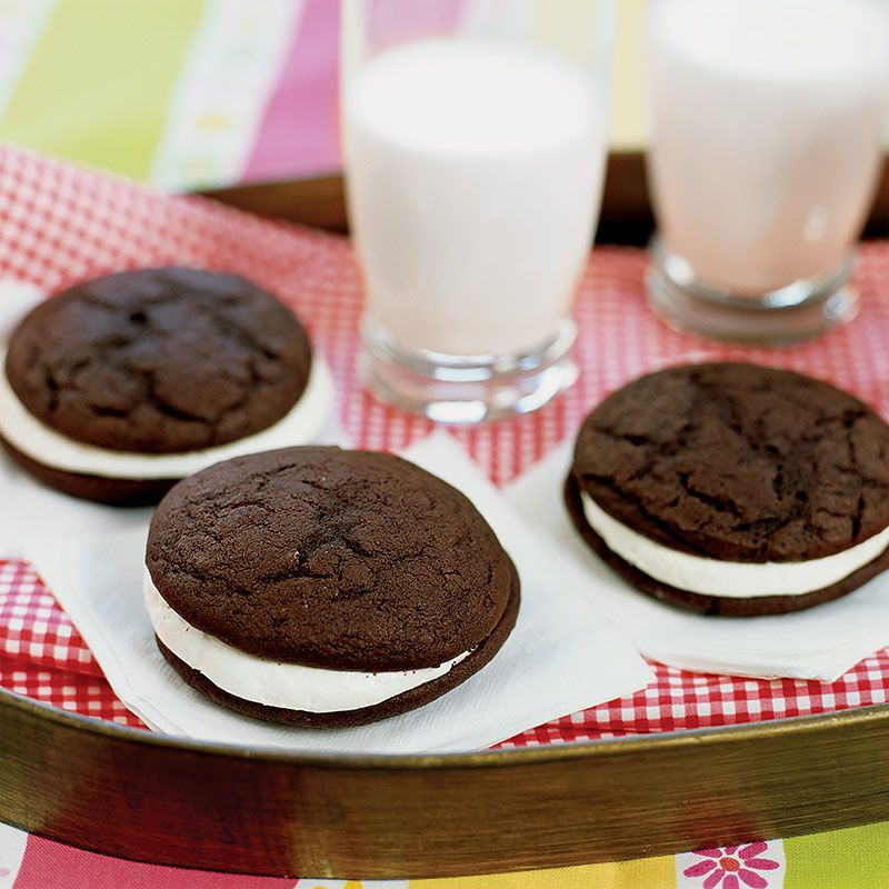 Whoopie Pies Recipe - Cook's Country  I will try these in vanilla and frost them for half moon cookies