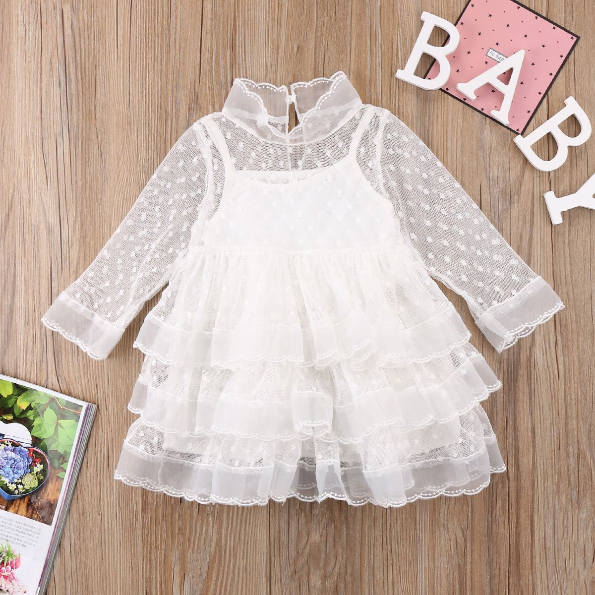 Cute kids baby girl princess white dresses long sleeve party dot