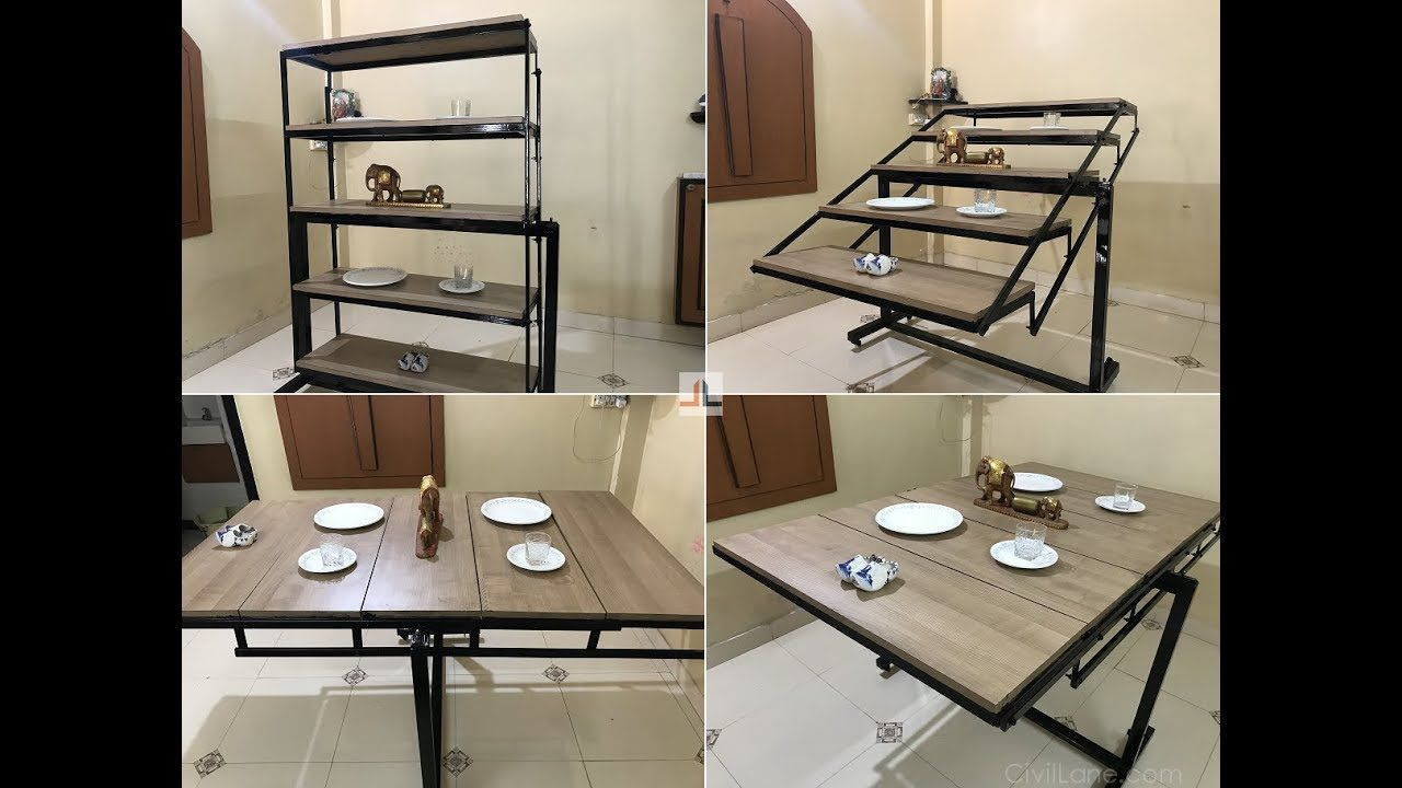 Convertible Dining Table Shelf Space Saving Furniture By Civillane Com Youtube Space Saving Dining Table Space Saving Kitchen Table Foldable Dining Table