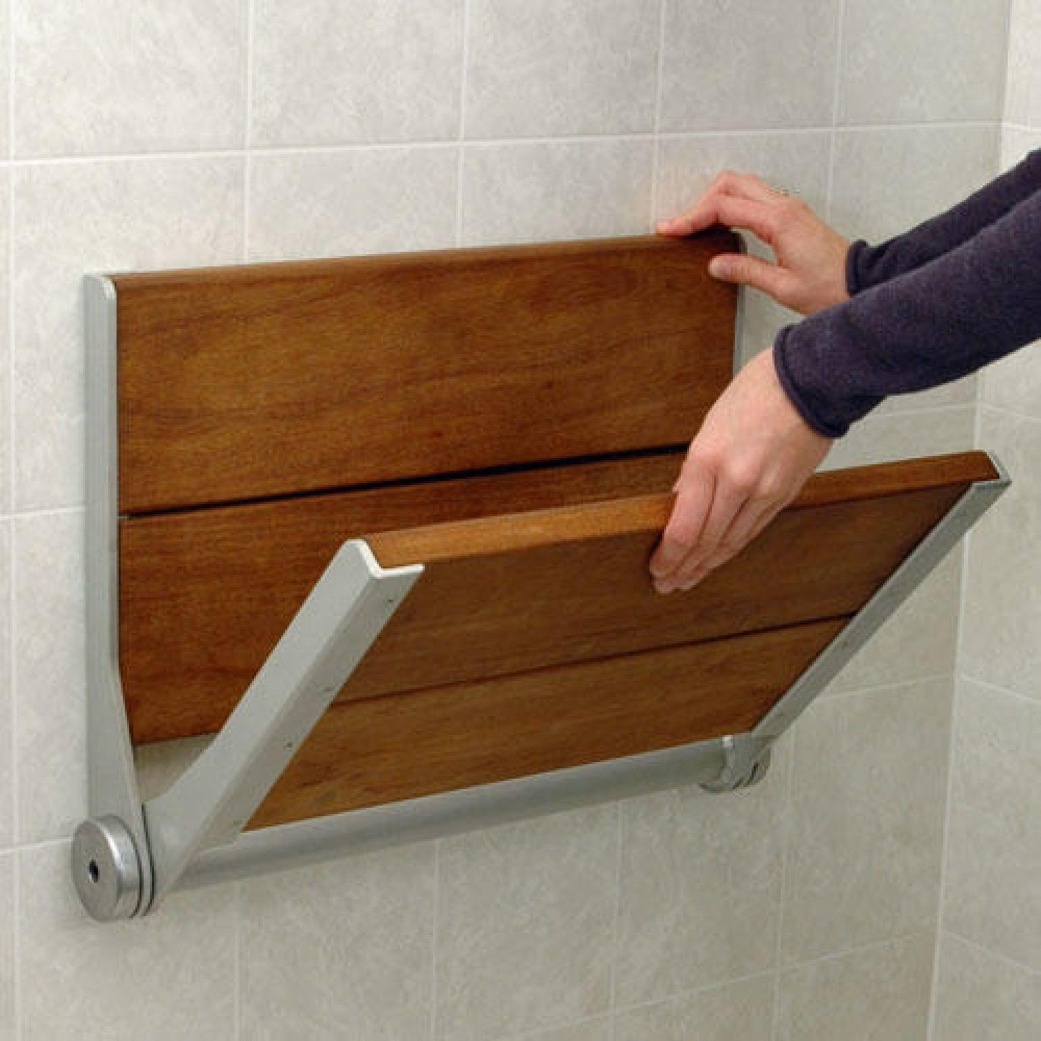 Serena Fold-Up Wood Shower Seat - ADA Compliant - Shower Seats ...