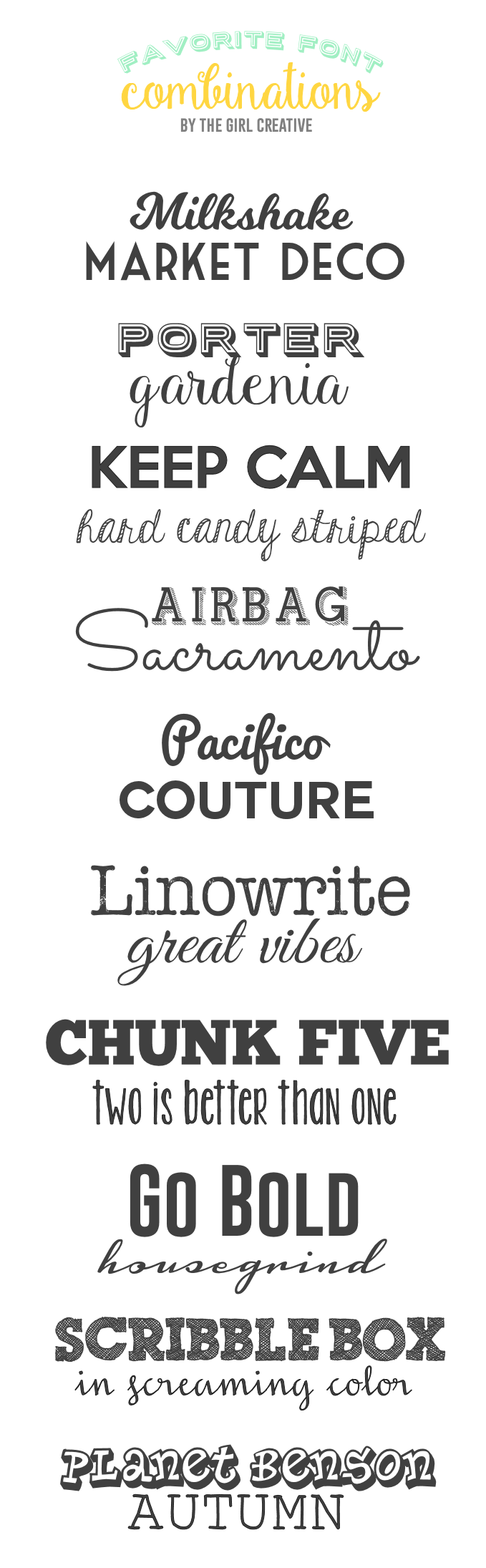 Favorite Font Combinations | More: Fonts | Font combinations, Font