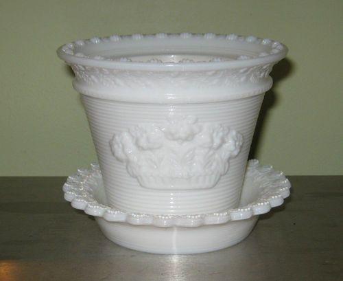 Vintage Milk Glass Flower Pot or Vase