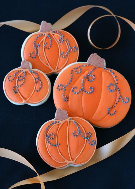 Jeweled Pumpkin Cookies Jewel, Cookie decorating and Sugar cookies - halloween pumpkin cookies decorating