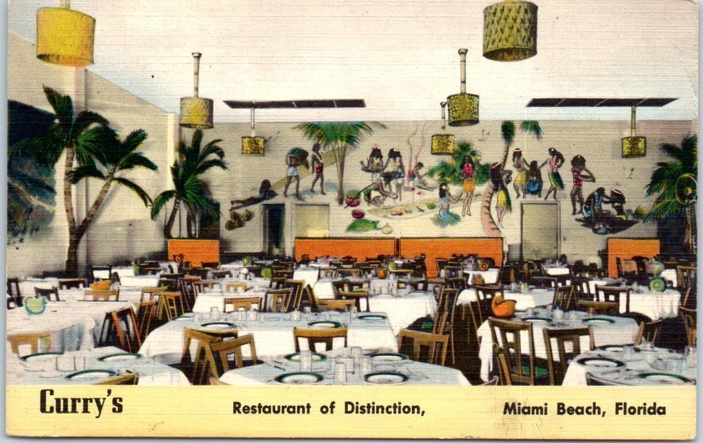 Nationally Famous Air Conditioned Curry S Restaurant 7433 Collins Ave Miami Beach 41 Florida 1953