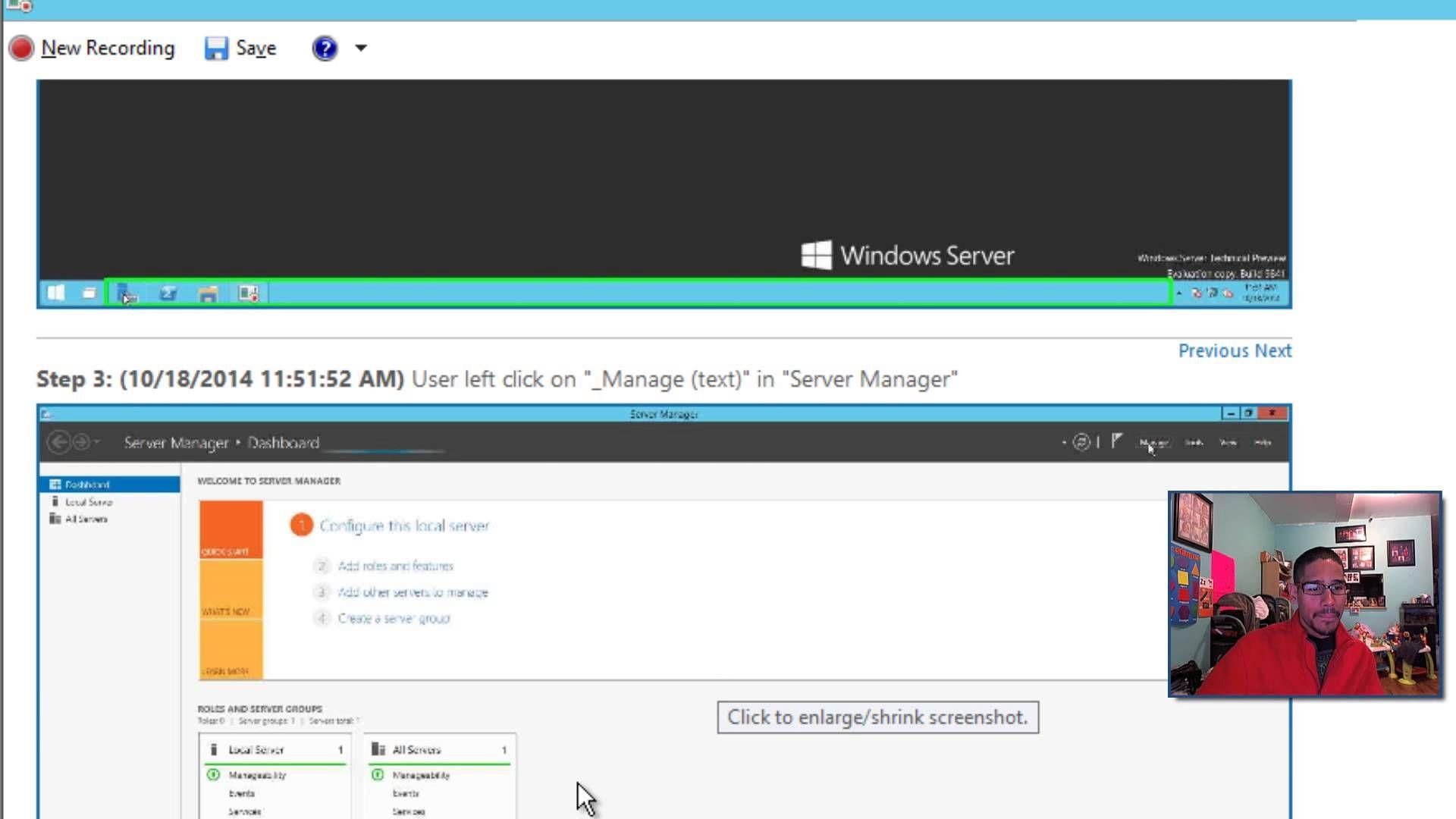 Windows 10 Server Steps Recorder Server, Windows server