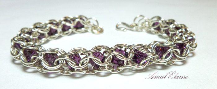Sterling Silver Swarovski Crystal bracelet - Chain Maille (chain mail) Captive Inverted Round. $52.00, via Etsy.