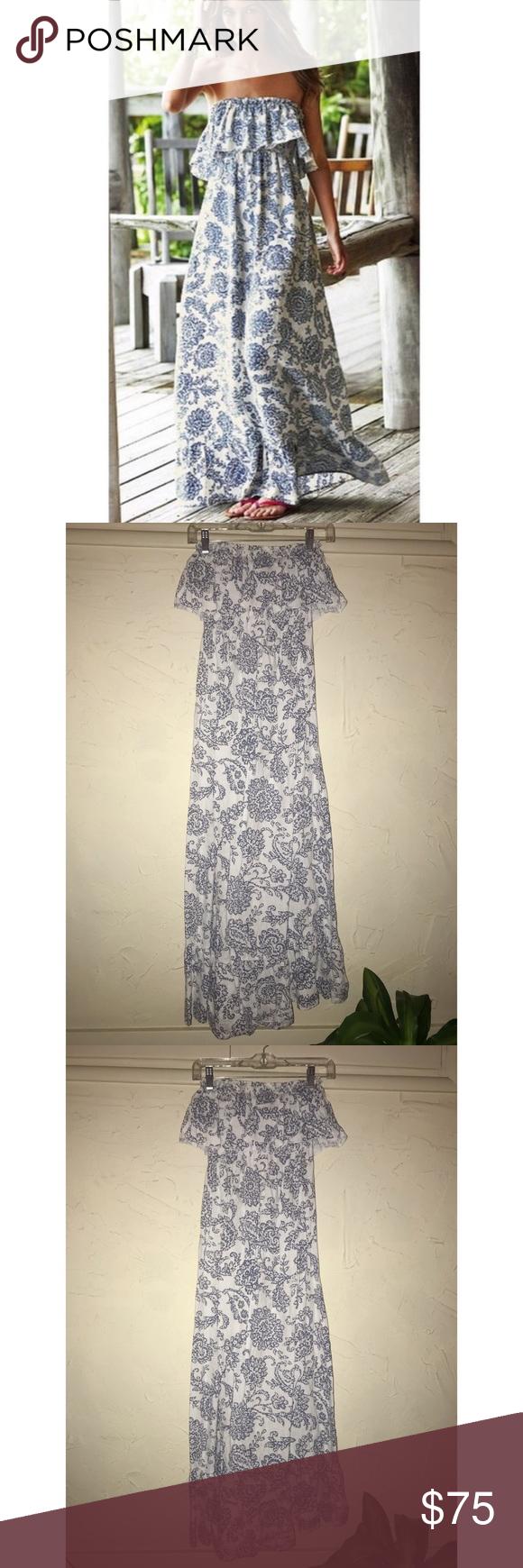Victoria S Secret Blue White Maxi Dress Blue White Maxi Dress White Maxi Dresses White Maxi [ 1740 x 580 Pixel ]