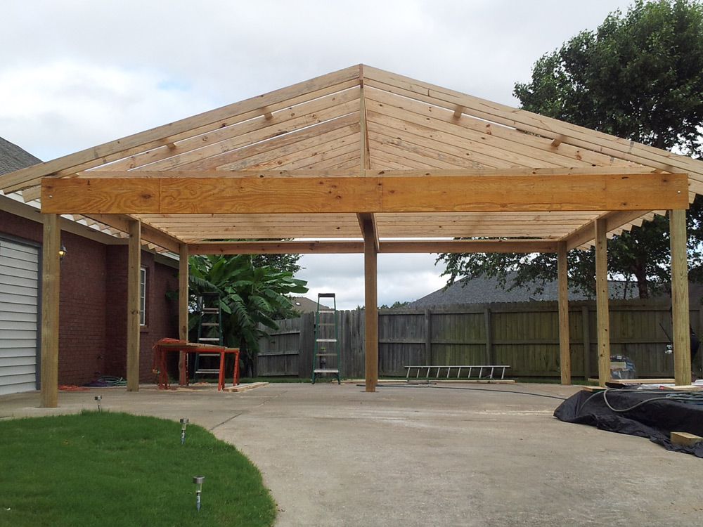 Custom Wood Carport Gabledroofcarportday3 (With images