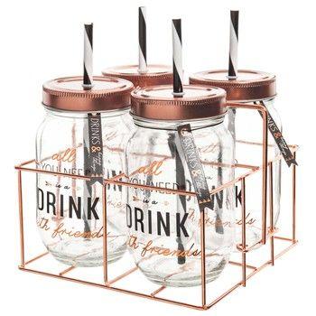 4 tarros con pajita soporte de metal drink deco casa - Tarro con pajita ...