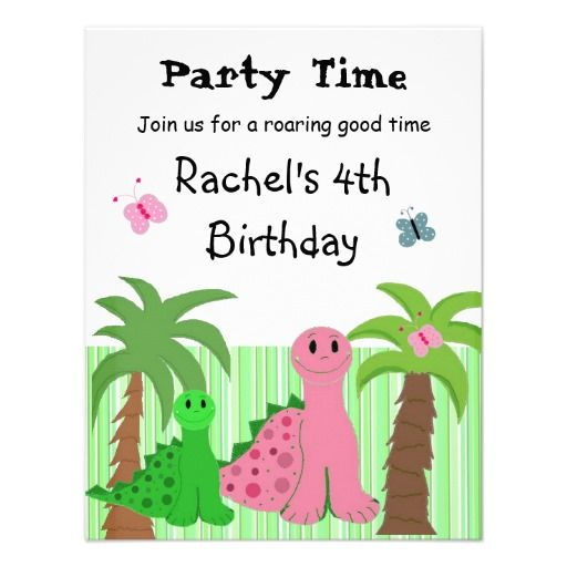 Cute Girls Pink Dinosaur Birthday Invitation
