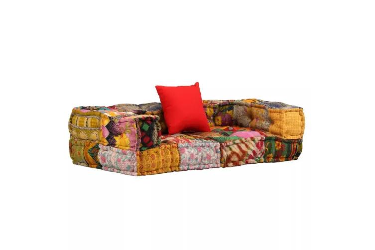 Vidaxl 2 Seater Modular Sofa With Armrests Fabric Patchwork