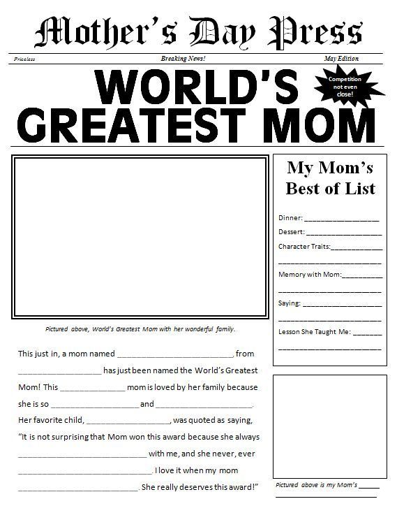 Free printable Motheru0027s Day Newspaper Template Holiday - mothers day card template