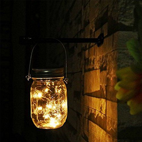 Solar Mason Jar Lights Solar Powered Led Garden Decor Outdoor Hanging Lights Lamps For Christmas Tree Lawn Patio Yard Party Wedding Decoration For Year Roun With Images Solar Mason Jars Outdoor