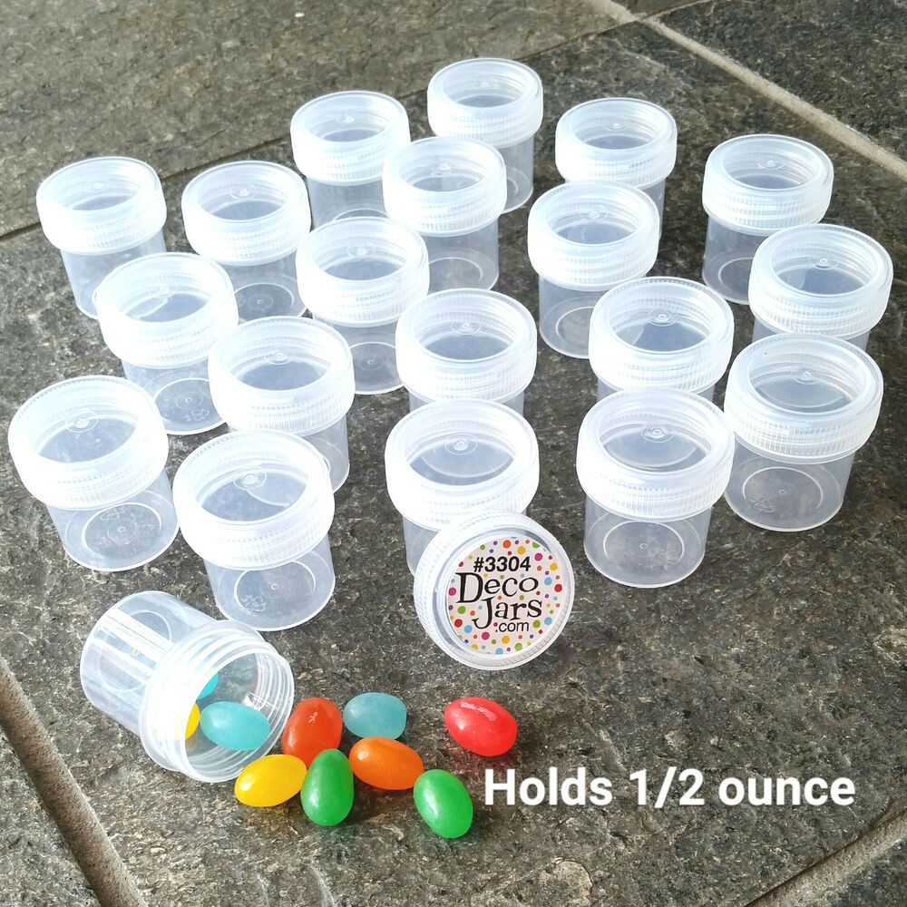 Mini Pill Bottles 12 Plastic Jars Clear Caps Travel Samples Decojars 3304 Usa Decojars In 2020 Plastic Jars Glass Bottles With Corks Jar