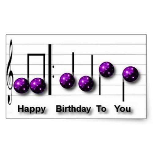 Happy Birthday Music Note Disco Balls Rectangular Sticker