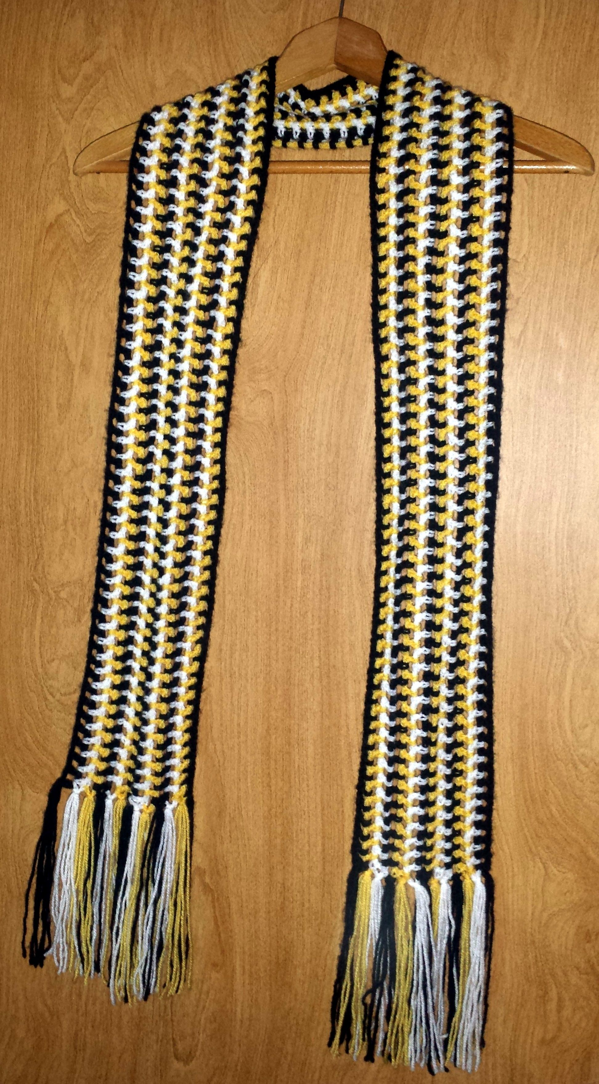 Sideways Striped Scarf. The added length makes this a very versatile ...