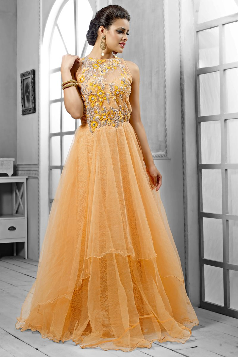02a21a1680 Light Gamboge Yellow Net Embroidered Bridal and Party Gown Sku  Code:317-4415GW249301 $ 149.00