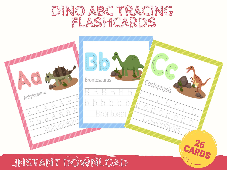 Dinosaur Tracing Practice Alphabet Cards Handwriting