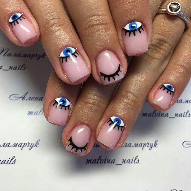 Evil Eye Reverse Manicure w Creamy/Sheer Light Base | My Style...I\'d ...