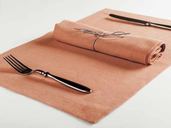 Linen placemats Or Linen cloth napkins, Salmon placemat set, Natural table napkin set, Set of Six #clothnapkins