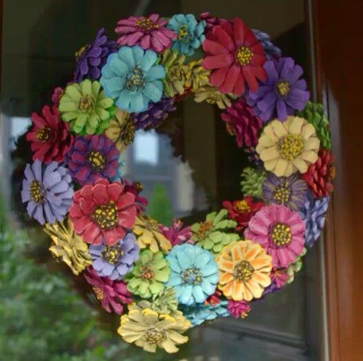 handmade pine cone flower wreath