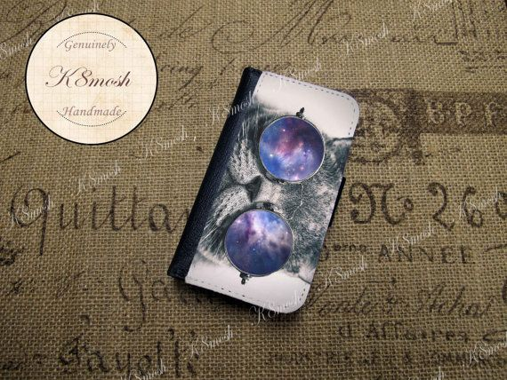 Hipster Cat Galaxy Glasses Wallet Case for iPhone 4 / 4s / 5 / 5s op Etsy, 16,27 €
