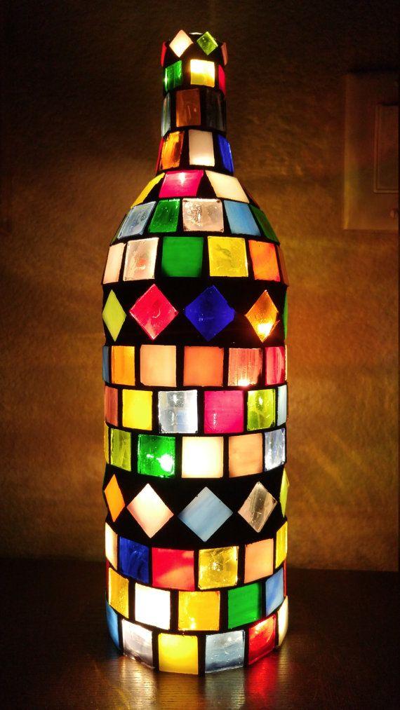 Stained Glass Mosaic Wine Bottle Light Wine Bottle Diy Crafts Lighted Wine Bottles Glass Bottles Art
