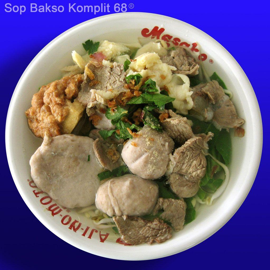 Sop Bakso Komplit Ala 68 Our Recomended Dilengkapi Bakso Yang Gurih Tahu Kok Irisan Daging Sapi Dan Babat Daging Sapi Bakso Daging