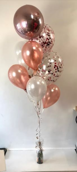 Rose gold latex and white mixture with orbz confetti balloons also rh pinterest